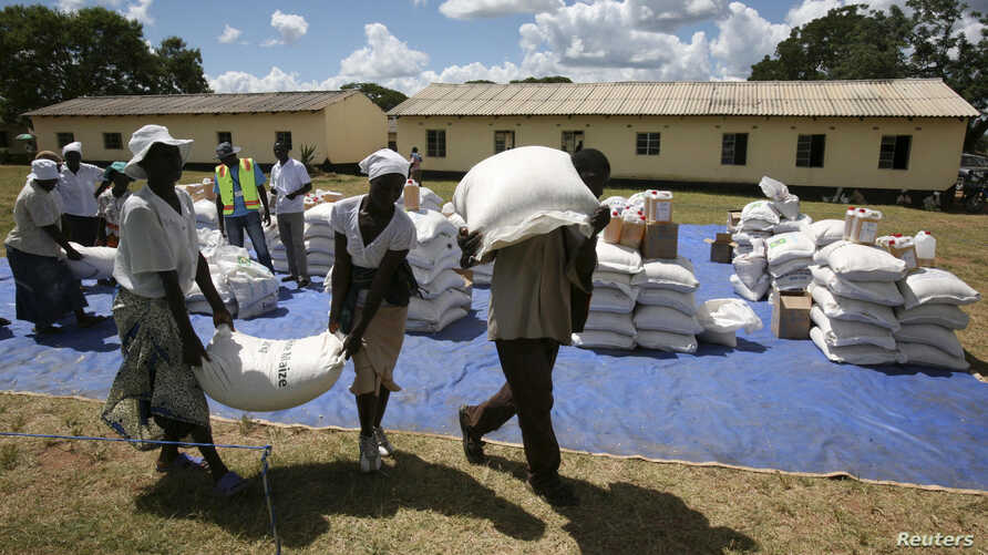 Zimbabwean villagers collect their monthly rations of food aid about 254km north of Harare March 7, 2013.