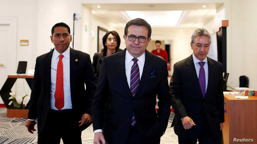 Mexico's Economy Minister Ildefonso Guajardo as he leaves the ninth U.S-Mexico CEO Dialogue in Mexico City, Oct. 11, 2017.
