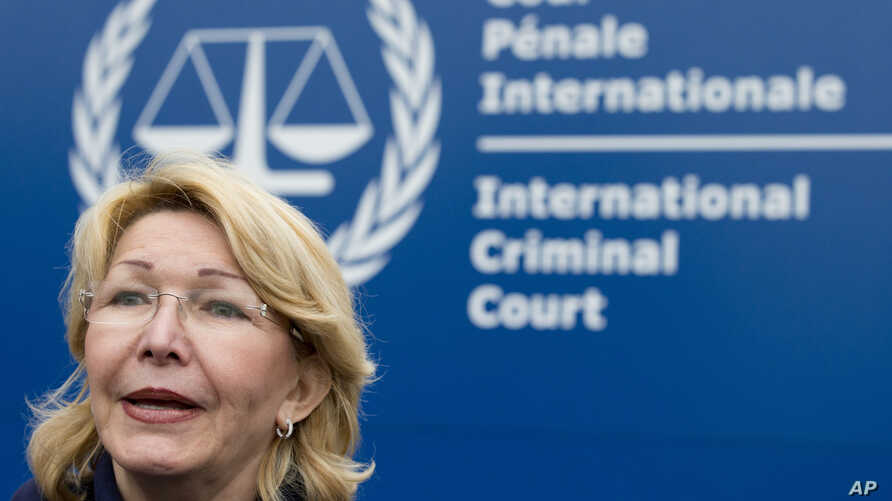 Ousted Venezuelan prosecutor general Luisa Ortega gives a brief statement after presenting evidence denouncing President Maduro for crimes against humanity at the International Criminal Court in The Hague, Netherlands, Nov. 16, 2017.