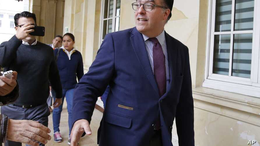 Julio Borges, president of the Venezuelan parliament, arrives for a meeting with Ernesto Macias, president of Colombia's Senate, at the Congress in Bogota, Colombia, Aug. 8, 2018.