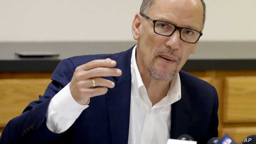 FILE - Democratic National Committee Chair Tom Perez makes comments during a round table discussion.