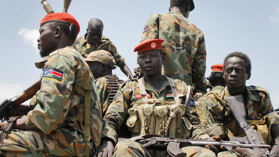 South Sudanese government soldiers, shown in an October, 2016 photo, and local police repulsed an early morning assault on Yambio, November 10, 2016.