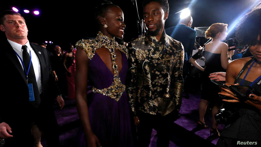 "Cast members Chadwick Boseman and Lupita Nyong'o attend the premiere of ""Black Panther"" in Los Angeles, Jan. 29, 2018."