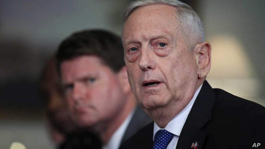 Defense Secretary Jim Mattis responds to a reporter's question during a meeting with and Philippine Secretary of National Defense Delfin Lorenzana at the Pentagon, Sept. 18, 2018.
