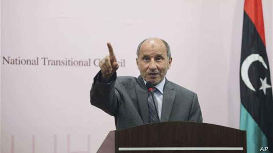 National Transitional Council chairman Mustafa Abdul-Jalil, speaks during a press conference at the rebel-held town of Benghazi, Libya, August 20, 2011