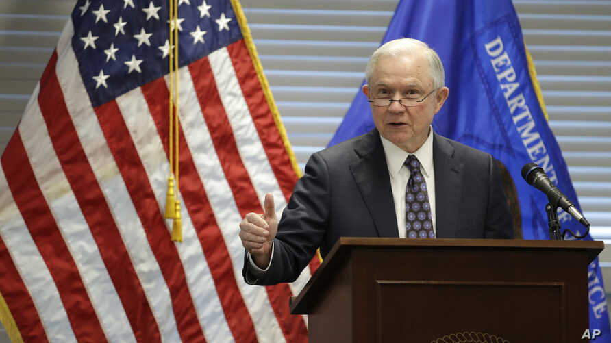 Attorney General Jeff Sessions speaks to federal, state and local law enforcement officials about sanctuary cities and efforts to combat violent crime, July 12, 2017, in Las Vegas.