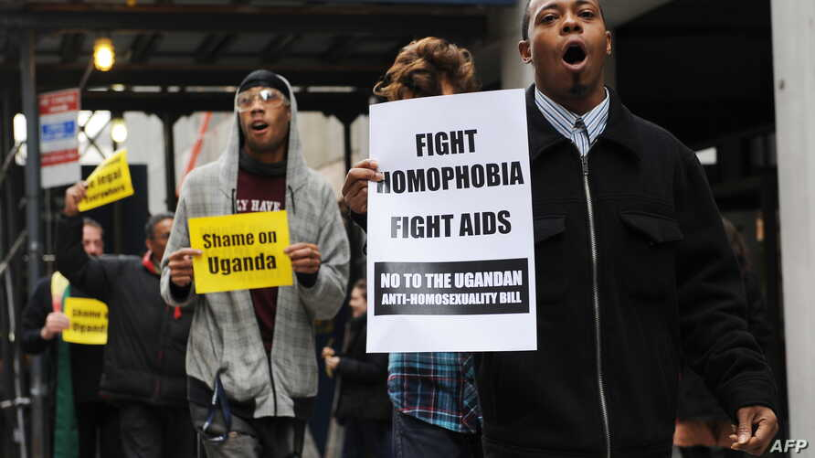 People protest against Uganda's proposed anti-homosexuality bill in New York (Nov 19, 2009 file photo)