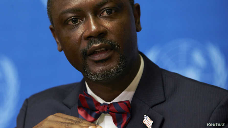 Axel Addy, Liberia's minister for commerce and industry, speaks at a news conference on the impact of Ebola at the United Nations European headquarters in Geneva, Sept. 30, 2014.