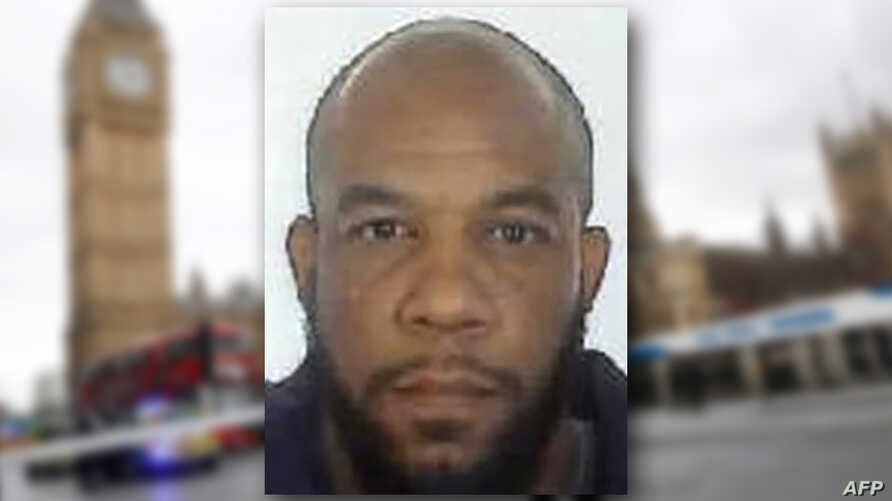This composite photo  includes a handout picture taken for an identity document and released by the British Metropolitan Police Service in London on March 24, 2017 shows Khalid Masood, the 52-year-old Briton behind the March 22 terror attack at Westm