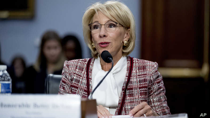 Education Secretary Betsy DeVos speaks during a House Appropriations subcommittee hearing on budget on Capitol Hill in Washington, March 26, 2019.