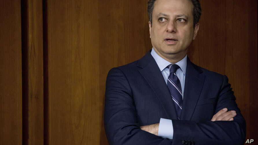 FILE - Former United States Attorney for the Southern District of New York Preet Bharara arrives on Capitol Hill in Washington, June 8, 2017.