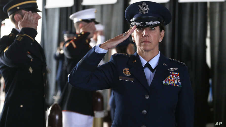 Air Force Gen. Lori Robinson, the incoming commander of NORAD and U.S. Northern Command, salutes during her arrival at the change of command ceremony, at Peterson Air Force Base, in Colorado Springs, Colo., May 13, 2016.