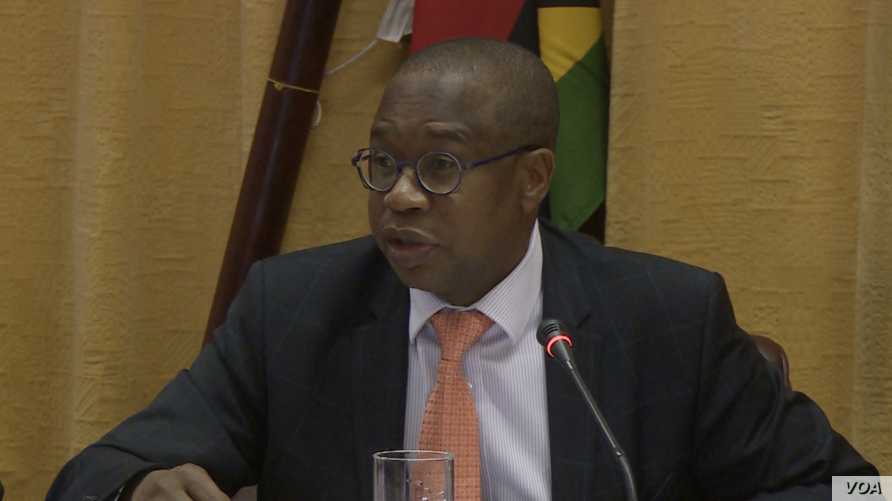 Mthuli Ncube, Zimbabwe's finance minister in Harare, insists Oct. 25, 2018, that the bond notes will remain at par with the U.S. dollar, though on the market it continues to lose value and is now trading close to 4 to 1 U.S. dollar.