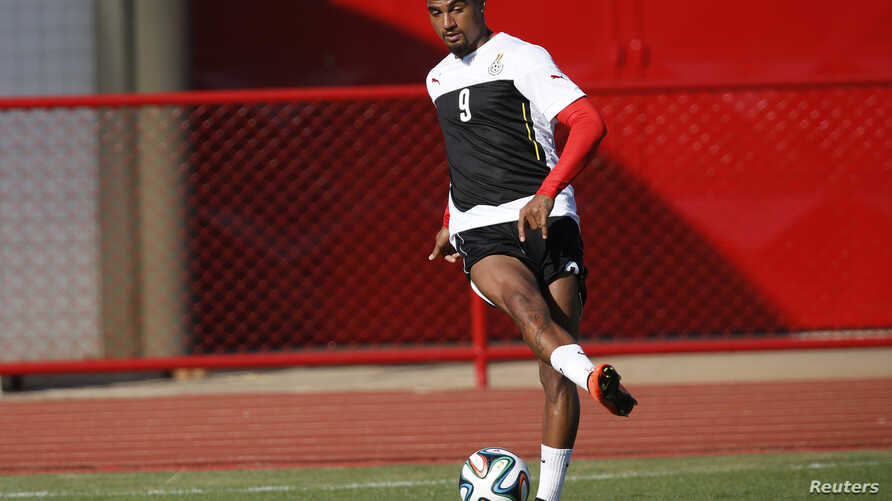 Ghana's Kevin-Prince Boateng controls a ball during a training session ahead of their 2014 World Cup against Portugal, in Brasilia, June 25, 2014.