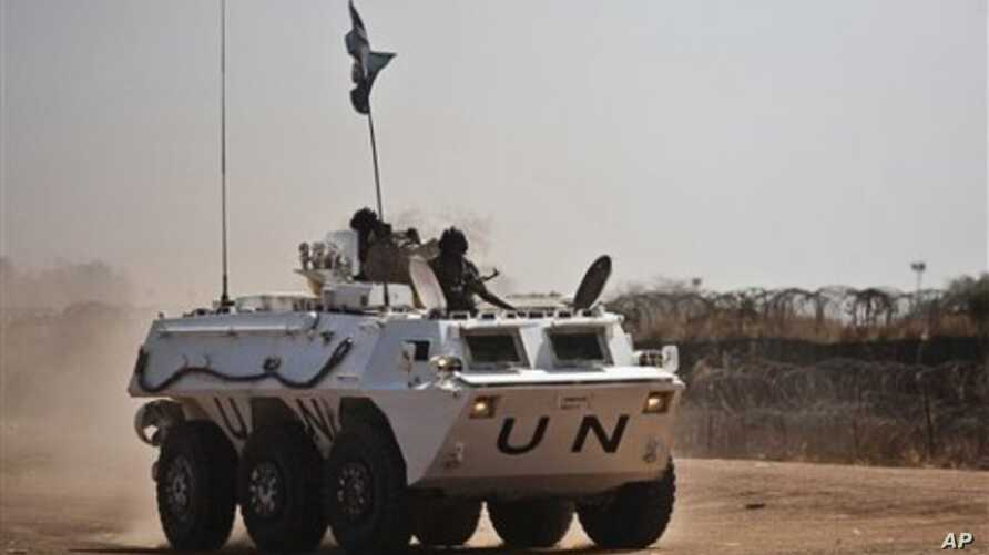A UNMIS peacekeeper patrol in Abyei, Sudan, March 11, 2011