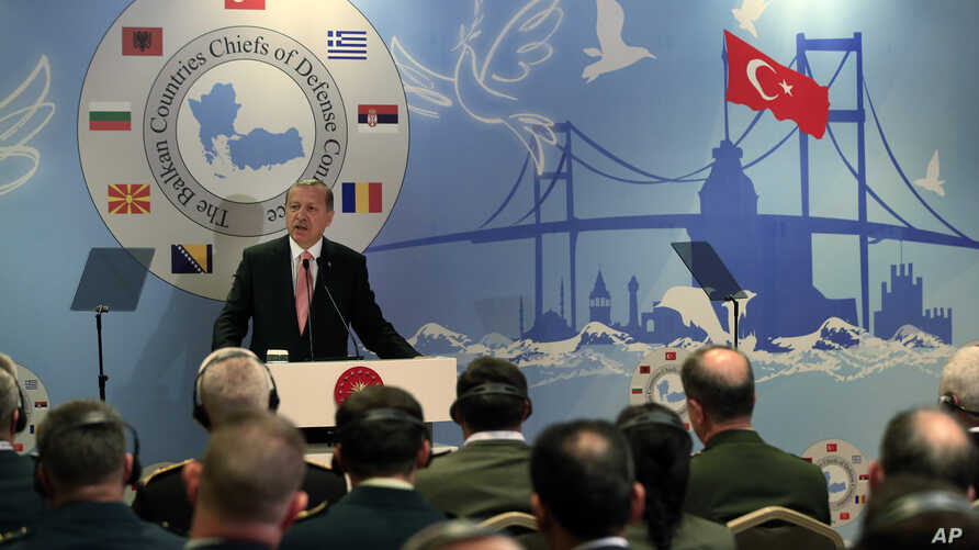Turkey's President Recep Tayyip Erdogan, addresses military chiefs of Balkan nations during their conference, in Istanbul, May 11, 2016.