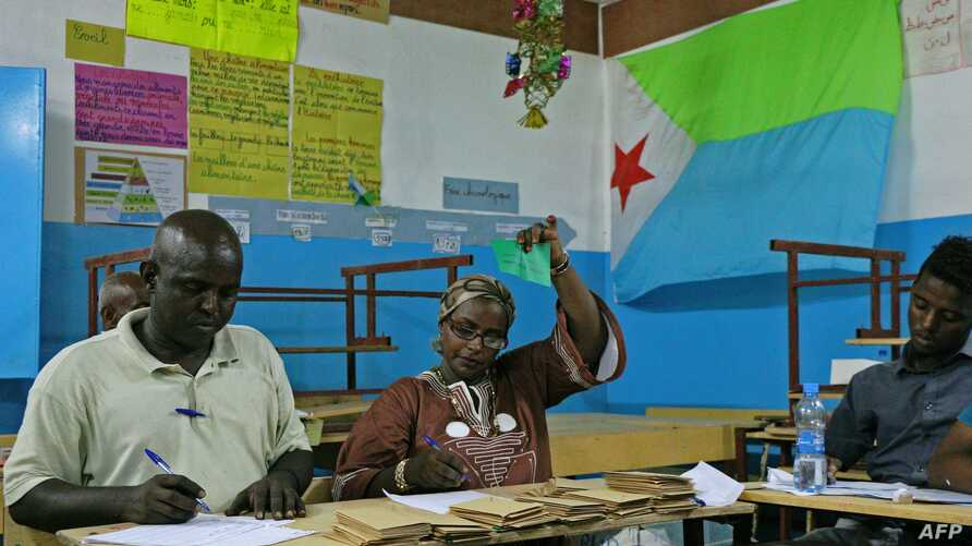 FILE - Votes are counted at a polling station in Djibouti city, April 8, 2016. Djibouti's main opposition party boycotted that elections and says it will not participate in legislative elections Friday.