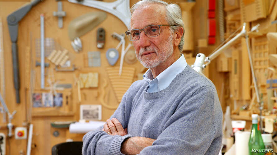 FILE - Italian architect Renzo Piano poses at his workshop in Paris, France, May 7, 2015.