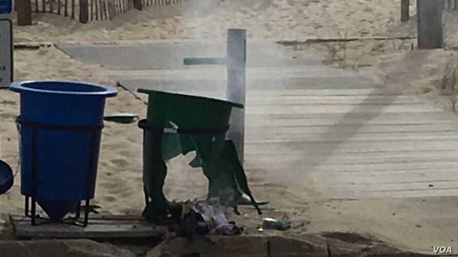 Police say a pipe bomb in this trash can exploded shortly before a charity race in Seaside Park, NJ, Sept. 17, 2016.