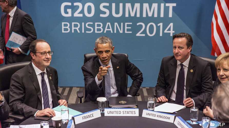President of France Francois Hollande, U.S. President Barack Obama, Britain's Prime Minister David Cameron and Germany's Chancellor Angela Merkel attend the Transatlantic Trade and Investment Partnership (TTIP) meeting at the G20  the G-20 leaders su