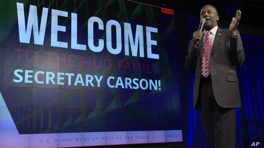 Housing a Urban Development Secretary Ben Carson speaks to HUD employees in Washington, March 6, 2017.