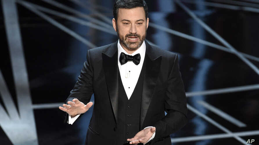 Host Jimmy Kimmel speaks at the Oscars at the Dolby Theatre in Los Angeles, Feb. 26, 2017.