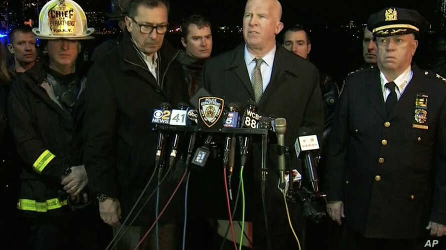 In this image made from video provided by WNYW, New York City Police Commissioner James O'Neill speaks during a press conference a deadly helicopter crash in New York on Sunday, March 11, 2018.