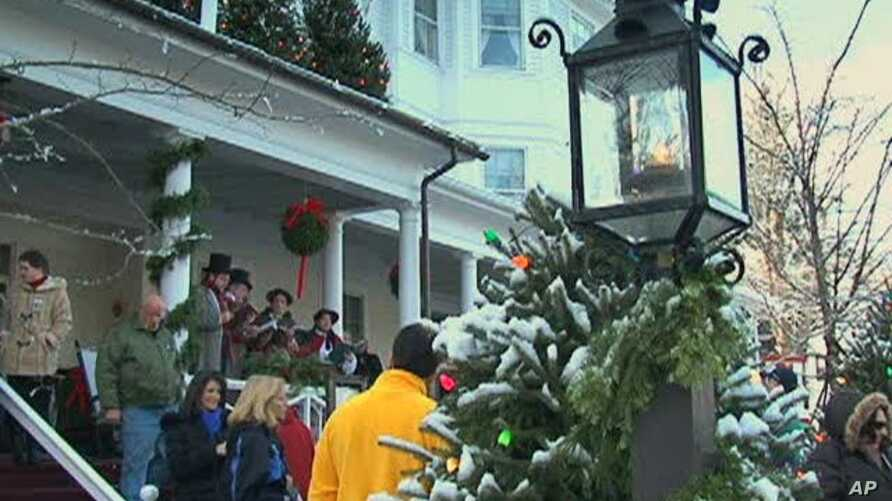 """Each year, on the first Sunday of December, the Stockbridge Chamber of Commerce mobilizes the entire community to recreate the scene from """"Stockbridge Main Street at Christmas,"""" by painter Norman Rockwell"""