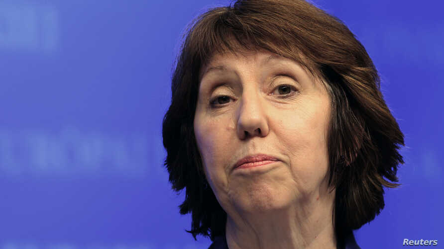 EU foreign policy chief Catherine Ashton holds a news conference, January 17, 2013 file photo.