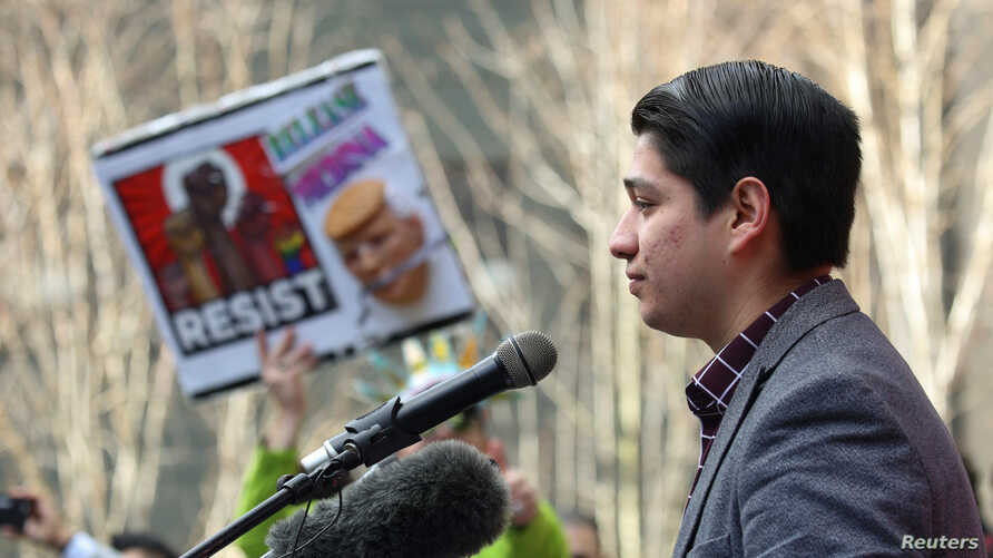 Paul Quinones, who is himself a Deferred Action for Childhood Arrivals (DACA) recipient, speaks during a rally outside of the U.S. District Court in Seattle, Washington, Feb. 17, 2017.