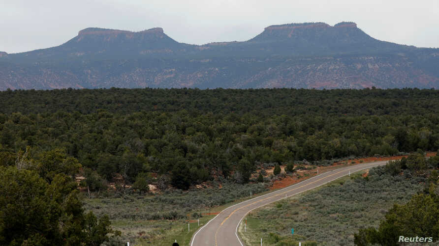 Bears Ears, the twin rock formations which form part of Bears Ears National Monument in the Four Corners region, are pictured in Utah, May 16, 2017.