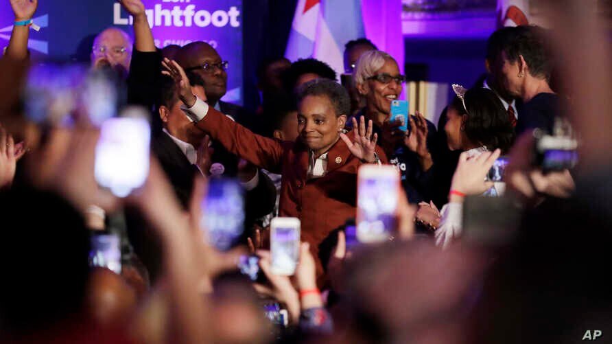 Lori Lightfoot waves to supporters as she walks to the stage at her election night party Tuesday, April 2, 2019, in Chicago. Lori Lightfoot elected Chicago mayor, making her the first African-American woman to lead the city.