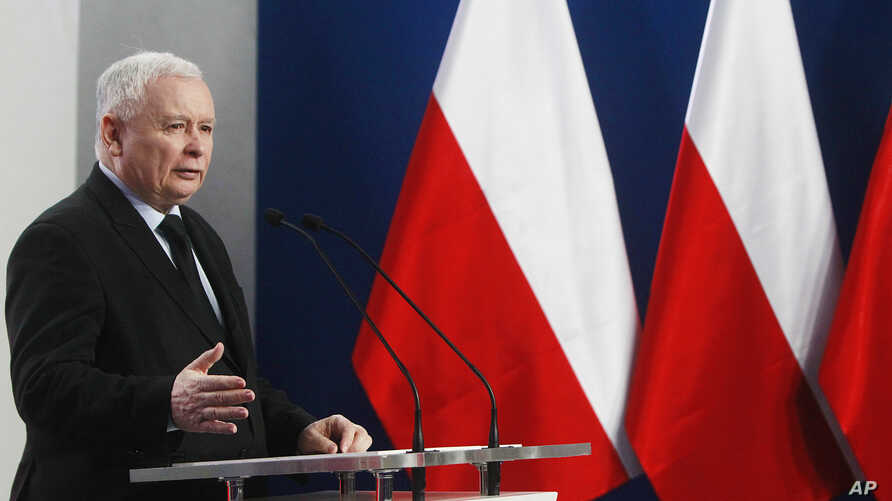Jaroslaw Kaczynski, the leader of the ruling Law and Justice Party speaks at a news conference in Warsaw, Poland, March 13, 2017.