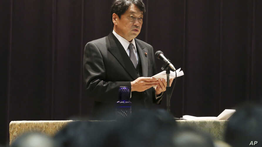 Japan's new Defense Minister Itsunori Onodera gives an inauguration speech to the ministry officials on his first day at Defense Ministry in Tokyo, Aug. 4, 2017.