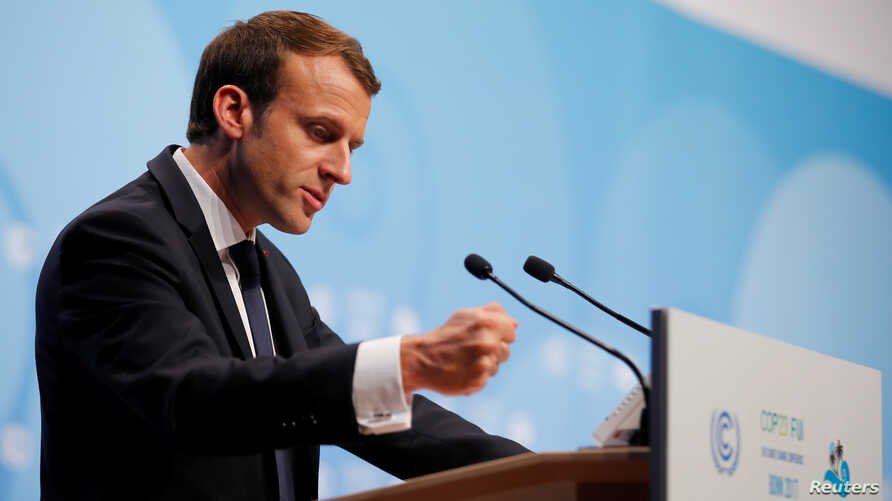 FILE - French President Emmanuel Macron speaks during the COP23 U.N. Climate Change Conference in Bonn, Germany, Nov. 15, 2017.