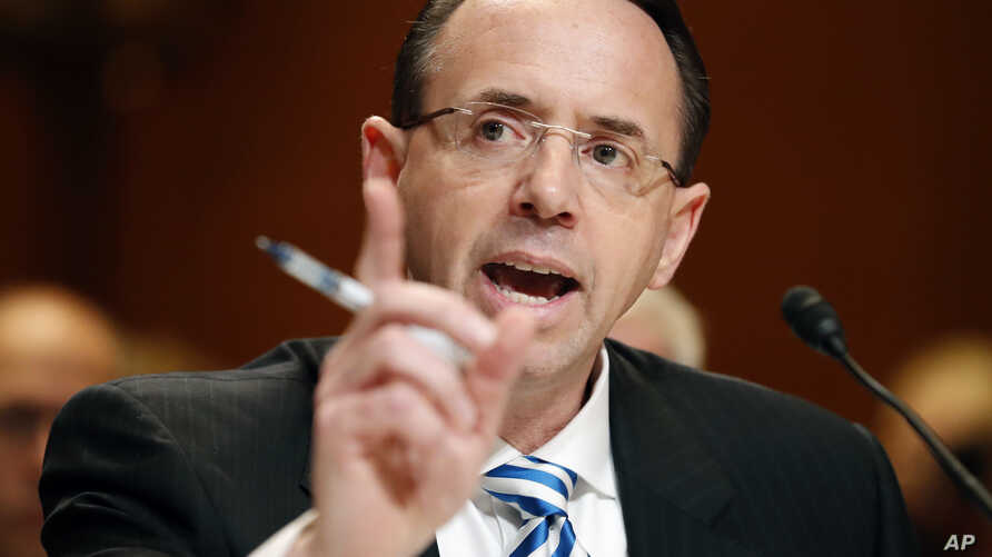 Deputy Attorney General Rod Rosenstein testifies on Capitol Hill in Washington, June 13, 2017, before a Senate Appropriations subcommittee hearing on the Justice Department's fiscal 2018 budget.