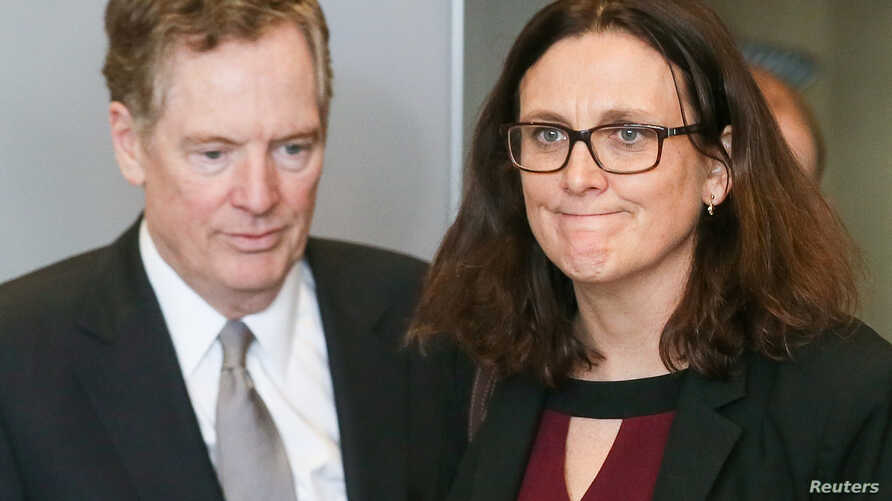 FILE PHOTO: U.S. Trade Representative Robert Lighthizer and European Trade Commissioner Cecilia Malmstrom take part in a meeting, Brussels, Belgium, March 10, 2018.