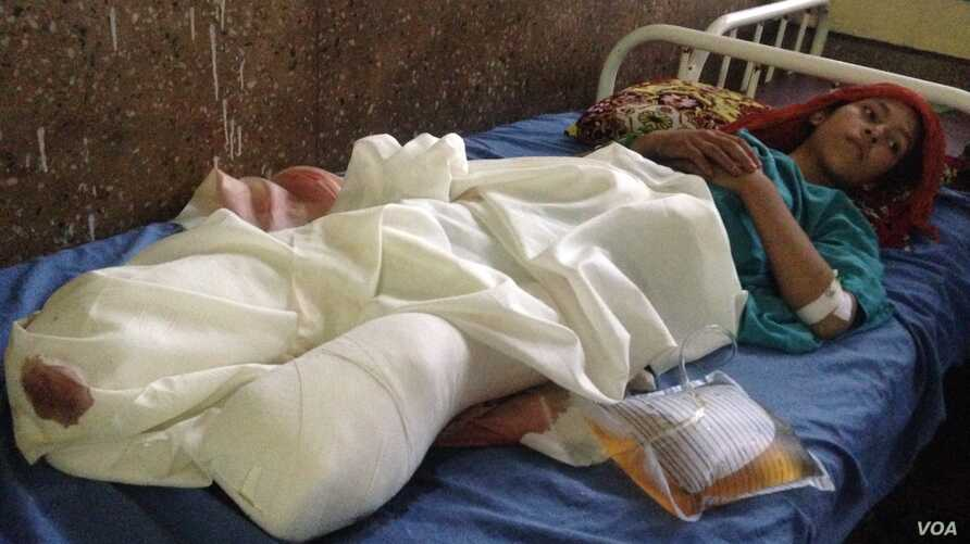 Madina, 10, was collecting firewood in Afghanistan when a roadside bomb went off. She is being treated in a hospital in eastern Jalalabad city, and doctors say she is in stable condition.