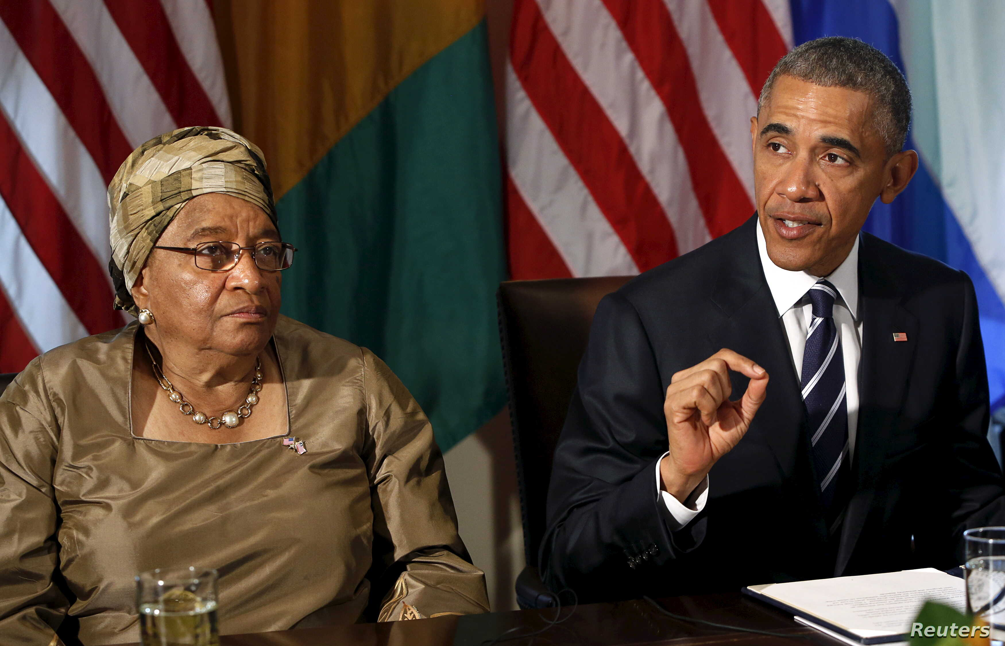 FILE - President Barack Obama and Liberian President Ellen Johnson Sirleaf participate in discussions at the White House in Washington about progress in West Africa against Ebola, April 15, 2015.