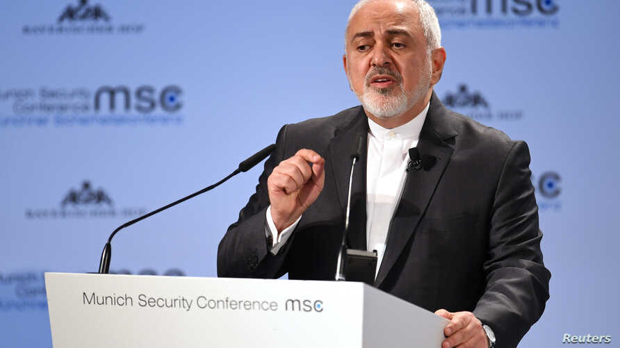 Iran's Foreign Minister Mohammad Javad Zarif speaks during the annual Munich Security Conference in Munich, Germany, Feb. 17, 2019.
