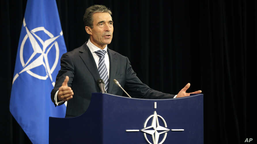 NATO Secretary General Anders Fogh Rasmussen speaks during a media conference after a meeting of NATO Defense Ministers at NATO headquarters in Brussels, Belgium, October 9, 2012.