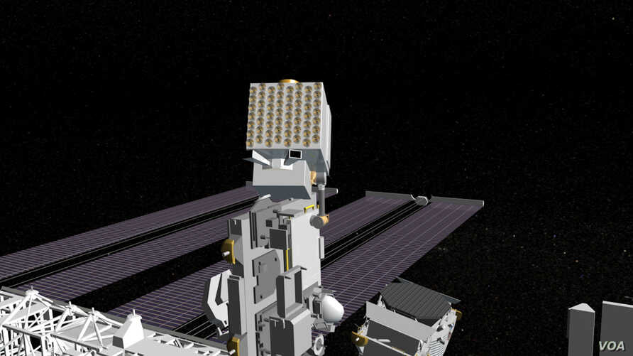 An artist's conception of the NICER telescope installed on the International Space Station.