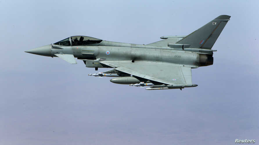 A British Royal Air Force Typhoon aircraft in flight during a mission over central Iraq September 21, 2016.