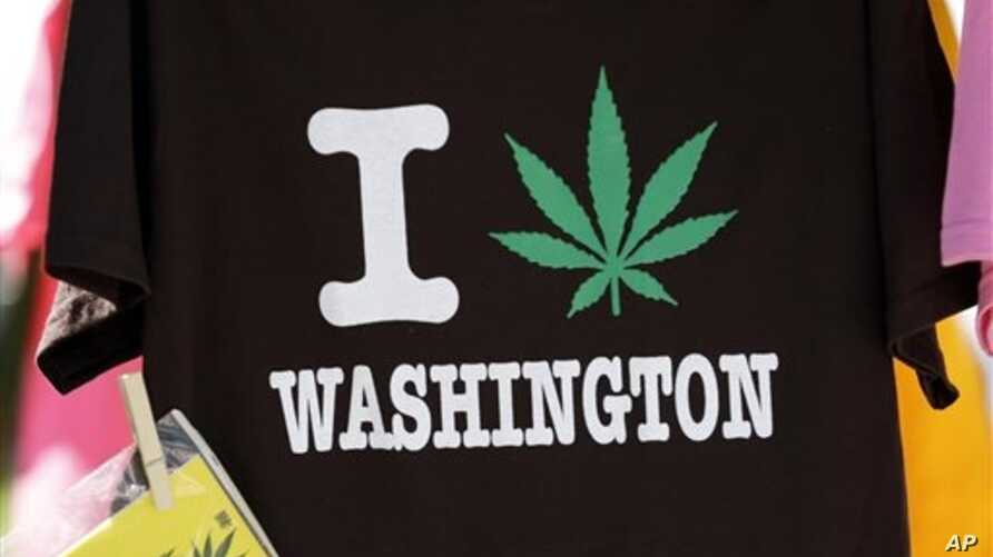 A tee shirt is displayed at the first day of Hempfest, Seattle, Washington, Aug. 16, 2013.