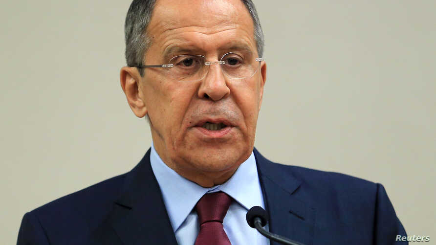 FILE - Russian Foreign Minister Sergei Lavrov attends a news conference after a meeting on Syria with U.S. Secretary of State John Kerry in Geneva, Aug. 26, 2016.