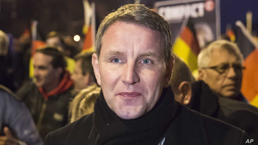 FILE - In this March 16, 2016 file photo Bjoern Hoecke, chairman of the Alternative fuer Deutschland (AfD) in the German state of Thuringia, leads a rally in Erfurt, Germany. AfD leadership  has voted to start proceedings that could see the prominent