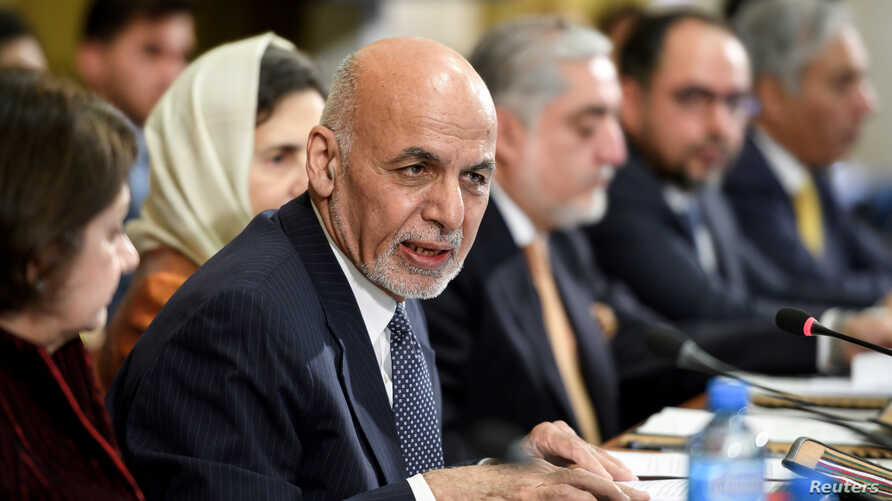 Afghan president Ashraf Ghani delivers a speech during the United Nations conference on Afghanistan on Nov. 28, 2018 at the UN Office in Geneva, Switzerland.