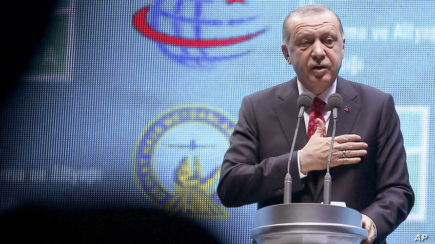 Turkey's President Recep Tayyip Erdogan speaks as he inaugurates a new aviation hub in Istanbul, Oct. 29, 2018.