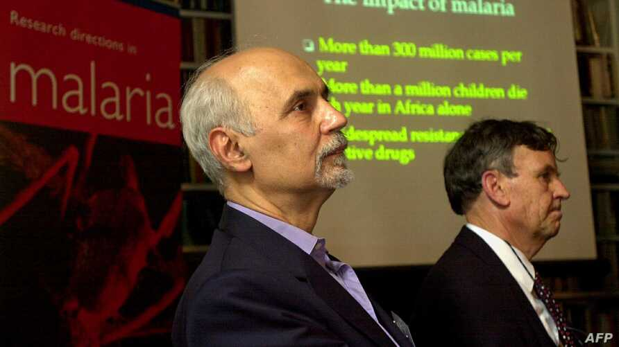 FILE - Greek scientist Fotis C. Kafatos, then the director-general of the European Molecular Biology Laboratory, addresses a press conference in London, Oct. 2, 2002.