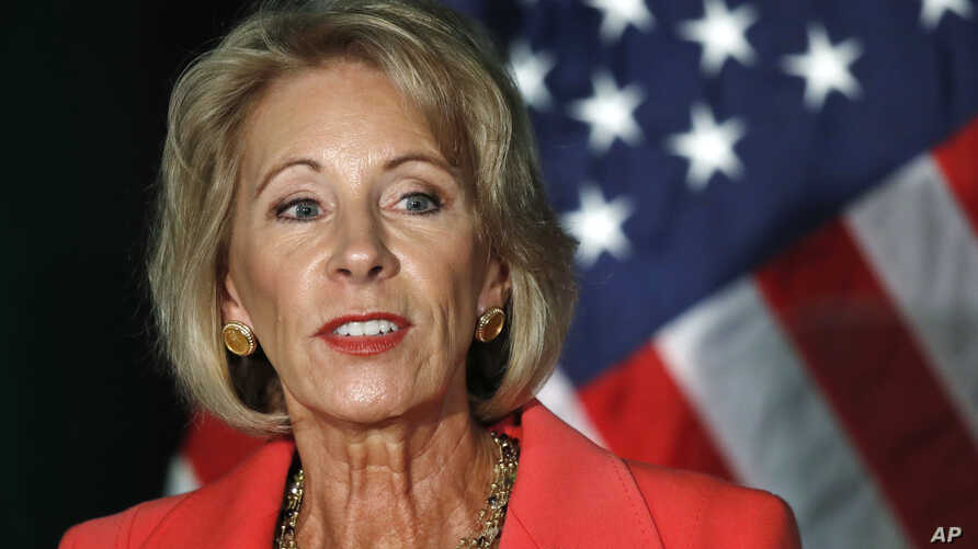 Education Secretary Betsy DeVos speaks about campus sexual assault and enforcement of Title IX, the federal law that bars discrimination in education on the basis of gender, Sept. 7, 2017, at George Mason University Arlington, Va., campus.
